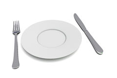 Plate with cutlery, 3d illustration Royalty Free Stock Images