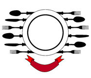 Plate with cutlery design place setting Royalty Free Stock Images