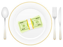 Plate cutlery and dollar pack. Plate, cutlery and dollar pack on a white background Stock Photo