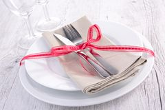 Plate and cutlery Royalty Free Stock Photography