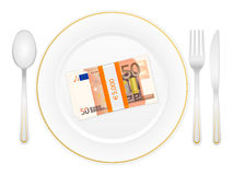 Plate cutlery and fifty euro pack. Plate, cutlery and euro banknotes pack on a white background Stock Image