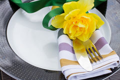 Plate with cutlery and flower Royalty Free Stock Photos