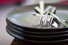 Plate and cutlery Stock Images