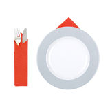 Plate and cutlery, isolated. Bright plate and elegant, silver cutlery, isolated Stock Images