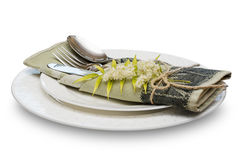 Plate and cutlery. Stock Photos