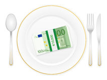 Plate cutlery and one hundred euro pack Stock Image
