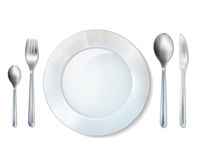 Plate And Cutlery Realistic Set Image Royalty Free Stock Image
