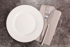 Plate and cutlery. Studio shot Royalty Free Stock Photos