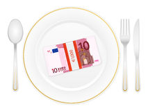 Plate cutlery and ten euro pack Stock Image