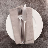 Plate and cutlery. Top view Stock Photos
