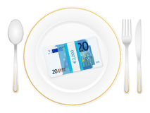 Plate cutlery and twenty euro pack Stock Photo