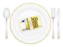 Plate cutlery and two hundred euro pack Royalty Free Stock Photos