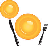 Plate with Cutlery Royalty Free Stock Images