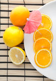 A plate of cutting orange and citrus Royalty Free Stock Photo