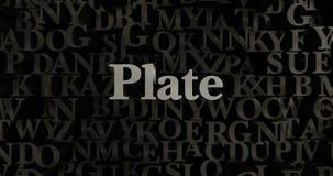 Plate - 3D rendered metallic typeset headline illustration Royalty Free Stock Photography