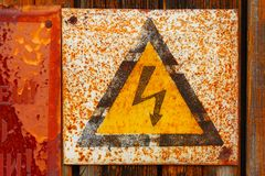 Plate dangerous voltage Royalty Free Stock Photography