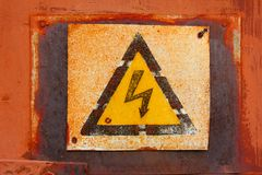 Plate dangerous voltage Royalty Free Stock Image