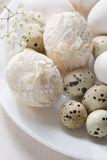 Plate  with decorated  Easter eggs. Stock Photography