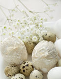 Plate  with decorated  Easter eggs Royalty Free Stock Image