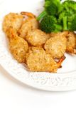 Deep Fried Shrimps with Broccoli Royalty Free Stock Photography