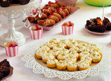 Plate with delicious cakes Stock Photo