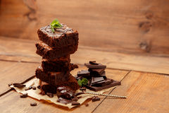 Plate with delicious chocolate brownies Stock Image