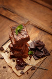 Plate with delicious chocolate brownies Stock Photos