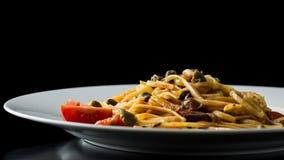 Plate of delicious Italian bavette pasta Stock Photos