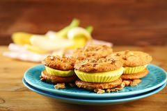 Plate with delicious lemon ice cream cookie sandwiches Royalty Free Stock Image