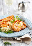 Plate of delicious prawns spaghetti with creamy sauce Stock Image