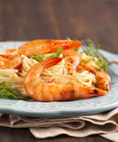 Plate of delicious prawns spaghetti with creamy sauce Royalty Free Stock Photography
