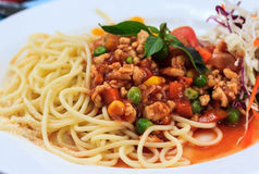 Plate of delicious spaghetti bolognese with meat sauce Stock Photography