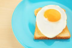 Plate with delicious sunny side up egg and toast. Closeup Stock Photo