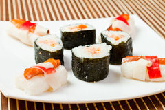 Plate with delicious sushi rolls Royalty Free Stock Image