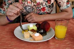 A plate of dessert in the restaurant all inclusive in Kleopatra Beach Hotel Alanya, Turkey Royalty Free Stock Image