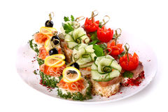 Plate of different canapes Stock Image