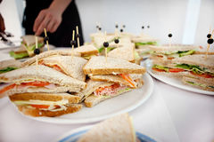 Plate with different delicious sandwiches close-up Royalty Free Stock Image