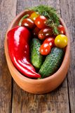 Plate with different fresh vegetables stock photography