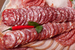 Plate with different kinds of sliced sausage and red hot chilli Royalty Free Stock Images