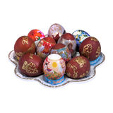 Plate and different painting Easter eggs Royalty Free Stock Photography