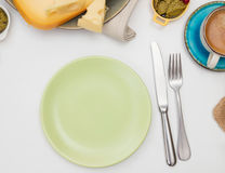 Plate on a dining table Stock Photos