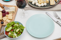 Plate on a dining table Royalty Free Stock Photos