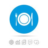 Plate dish with fork and knife. Eat sign icon. Cutlery etiquette rules symbol. Copy files, chat speech bubble and chart web icons. Vector Royalty Free Stock Photography