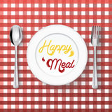 Plate dish with fork on white background,Happy meal concept. Royalty Free Stock Photos