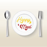 Plate dish with fork on white background,Happy meal concept. Royalty Free Stock Photo