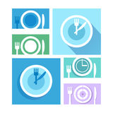 Plate dish with forks and knifes icons.  Crosswise cutlery symbo Stock Photo
