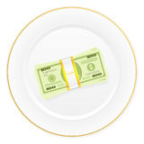 Plate and dollar pack. Plate with dollar pack on a white background Stock Photos