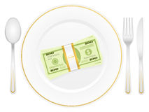 Plate and dollar pack. Plate with dollar stack and cutlery Stock Photos