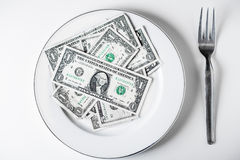 Plate of dollars Royalty Free Stock Image