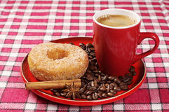 Plate with donut and coffee Stock Photo